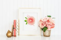 Peach Rose Flower Watercolor Art Print by Michelle Mospens