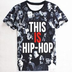 Camiseta hombre Slimming Round Neck 3D Super Star Hip Hop