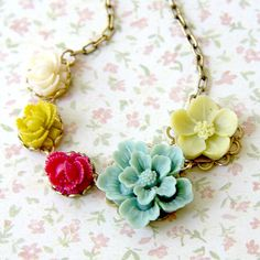 Seafoam and Moss Flower Necklace by NestPrettyThingsShop on Etsy, $38.00
