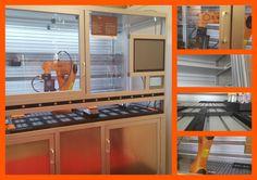 Estructura para laboratorio clínico realizada con perfil de aluminio y accesorios Minitec .