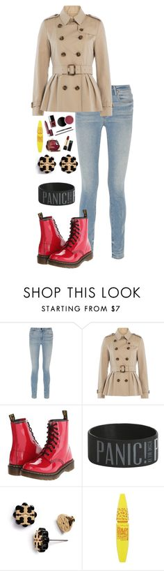 """""""Rainy Days"""" by lovecarabear ❤ liked on Polyvore featuring Alexander Wang, Burberry, Dr. Martens, Tory Burch and Maybelline"""