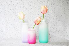 The Pink Doormat: Spray Painted Ombre Glass Bottles