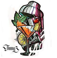 Body Art Tattoos, New Tattoos, Sleeve Tattoos, Tatoos, Wine Glass Drawing, Arte Bar, Bar Pics, Wine Tattoo, Tiki Art