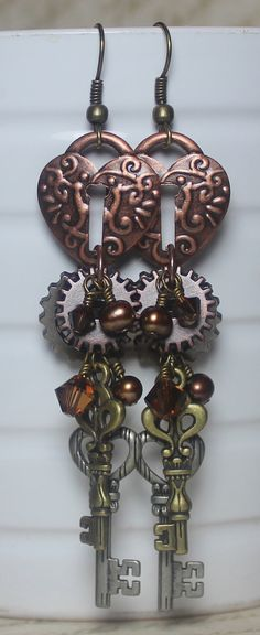 A Love for all Time...Steampunk Earrings... $28.00, via Etsy.