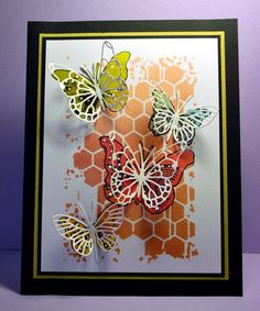 Monday, 17 February 2014 Eileen's Crafty Zone: Memory Box Honey Comb stencil 88521, Memory Box dies - Kaleidascope Butterfly 98261, Vivienne Butterfly 98265