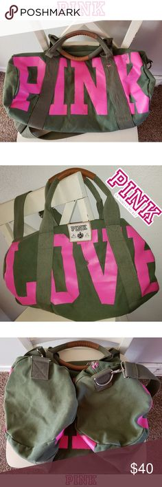 02debd2b Vintage Victoria's Secret Pink Duffle Bag Medium sized duffle bag. Army  green in color.