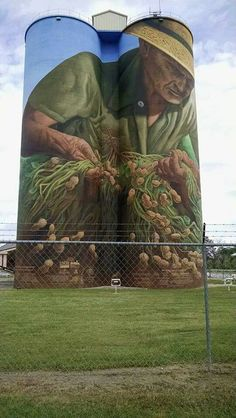 """One of several murals here in Georgia. (Colquitt, Georgia) Photo by Keith Brock, shared on the Forgotten Georgia page. Largest mural in the United States. Painting on working peanut silos pays tribute to the agriculture of Georgia. """"The Spirit Farmer"""" (aka """"The Peanut Farmer"""") on 100 ft. tall Birdsong Peanut Company Silo, dedicated in 2010, 27,000 sq. ft. mural hand-painted with rollers by Charlie Johnston. Love this and wanted to share!.....4....<3"""