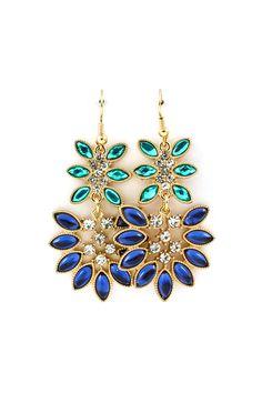 Neeva Marquise Chandelier Earrings in Blues