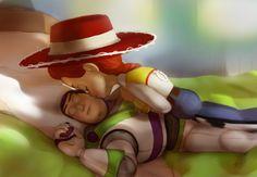 Morning by - Jesse and Buzz Lightyear - Toy Story Disney Fan Art, Disney Love, Disney Magic, Disney Couples, Disney Stuff, Disney And Dreamworks, Disney Pixar, Disney Characters, Disney Animation