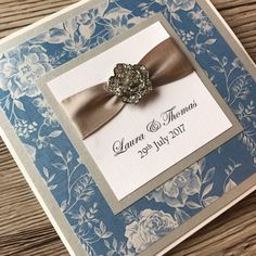 Wedding invitation blue and silver rose classic by CanIDoUAFavour Invitation Examples, Blue Wedding Invitations, Silver Roses, Blue And Silver, Color Schemes, Etsy Shop, Unique Jewelry, Classic, Handmade Gifts