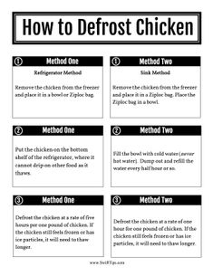 Chefs and cooks can use this printable guide to learn two ways to safely defrost chicken: in the fridge and in cold water. Free to download and print