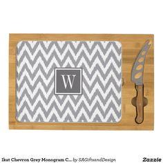 Ikat Chevron Grey Monogram Cheese Board