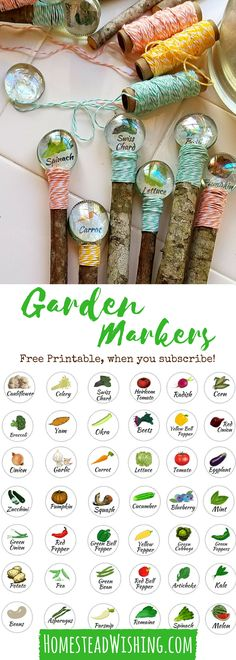 DIY Garden Markers - I've included a free printable to make these! These garden markers are so adorable, but they are also cheap to make if you can believe it! What I didn't have already I got from the Dollar Tree! Check this great tutorial out today. Free Printable Garden Markers - Cheap Garden Markers - Glass Gem Garden Markers - Garden Marker Tutorial | Homestead Wishing, Author Kristi Wheeler | homesteadwishing.... | diy-garden-markers, cheap-garden-markers