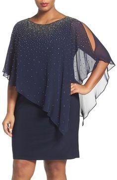 Main Image - Xscape Embellished Chiffon Overlay Jersey Sheath Dress (Plus Size)