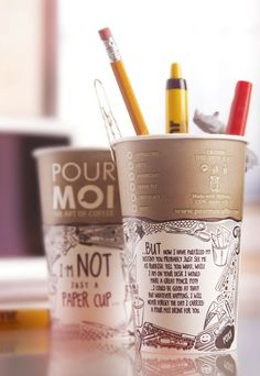 Think twice before you throw your cup away...Pour Moi Coffee  - The Dieline