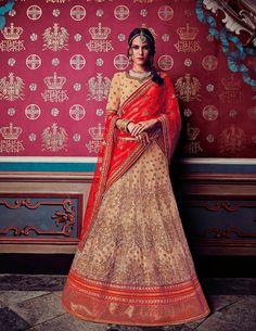 Beige Net Wedding Lehenga Choli 69726