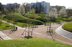 Le Parc de Maurepas-Elancourt, France. Design by Michel Corajoud Paysagiste, Henri Ciriani Architecte, Borja Huidobro Architecte.