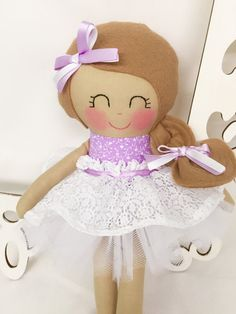 Cloth doll Fabric doll Purple Girl Toy by SewManyPretties