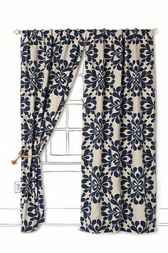 Coqo Floral Curtain - Anthropologie.com in Navy $168