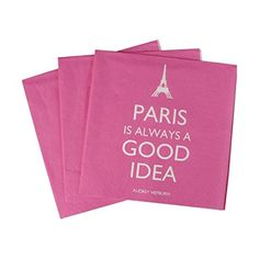 "Stylish Pink ""Paris Is Always A Good Idea"" (20) Party Paper Napkins"