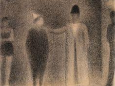 Georges Seurat, Two Clowns, 1886-87. Black conté crayon on cream laid paper