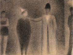 Georges Seurat, Two Clowns, 1886-87. Black conté crayon on cream laid paper