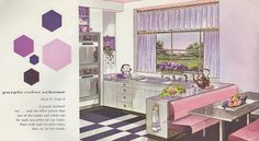 "Purple color scheme from the Mid Century decorating book ""Window Decorating Made Easy by Kirsch"", Mid Century Decor, Mid Century House, Mid Century Style, Mid Century Design, Mid-century Interior, Interior Colors, Interior Design, Mad Men Decor, Modern Window Treatments"