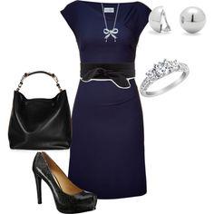 """navy dress - obi belt"" by lisa-eurica on Polyvore"