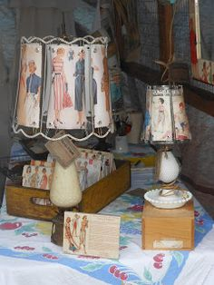 lamp shades made from old sewing patterns for your sewing room @Abbey Adique-Alarcon McNeil