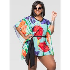 Ashley Stewart Belted Cold Shoulder Cover-Up ($50) ❤ liked on Polyvore featuring swimwear, cover-ups, cover up swimwear, plus size swimwear, see through swimwear, sheer cover ups and plus size beach wear