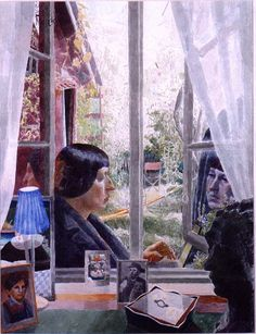 Portrait of the author: Leena Krohn, watercolour by Marjatta Hanhijoki Pencil Painting, Watercolor Paintings, Watercolours, Open Window, Window Panes, Multimedia Arts, Portrait Art, Portraits, Vincent Van Gogh