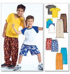 "M4364| Boys' T-Shirts, Shorts In 2 Lengths & Pants| View A raglan tank 5/8main, 1/4yd contrast, View B tee 3/4yd, View C shorts 1-1/8yd,22"" interfacing, View D cargo pants 1-1/2 yd, View E pants 1-1/8yd 3/4"" elastic,"