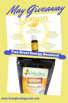 Need a quick energy boost with no caffeine?  I am giving away two of my favorites this month.  Enter to win and repin to share with your friends!  http://www.homefarmingscents.com