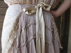 Antique lace tie dress with chiffon slip by Gary Graham. Made by hand from Italian and European silks and cottons, $792.