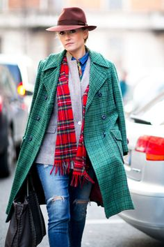 Day 1: Mix plaid prints in red + green through layers for an on-trend look that keeps you warm