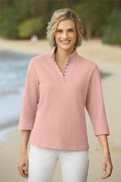 Orvis Women's Snap-front Mockneck Henley Henleys, Henley Shirts, Working Woman, Mock Neck, Long Sleeve Shirts, Bell Sleeve Top, Tunic Tops, Blouse, T Shirt