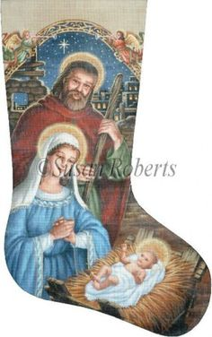 "Mary, Joseph and Baby Jesus Artist: Liz Goodrick-Dillon Item Number: TTAXS345 Mesh Size: 18 Mesh Measurement: 13 1/4"" x 21 1/2"""