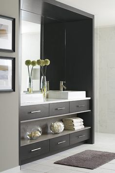 Ready for a bathroom remodel? Omega Cabinetry has the inspiration and organization must-haves for large and small bathroom spaces. Custom Bathroom Cabinets, Custom Cabinetry, Homecrest Cabinets, Small Bathroom, Bathroom Ideas, Bathrooms, Cabinet Design, Cabinet Ideas, Bathroom Inspiration