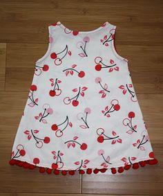 Look at this #zulilyfind! Red & White Cherry Pom Pom Dress - Infant, Toddler & Girls by Jen Jen #zulilyfinds