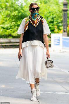 Olivia Palermo Lookbook, Olivia Palermo Style, Mr Style, Style Icons, Satin Midi Skirt, White Midi Skirt, Casual Outfits, Fashion Outfits, Womens Fashion