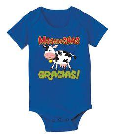 Look at this #zulilyfind! Royal Blue 'Mooooochas Gracias' Bodysuit - Infant by Ay Caramba #zulilyfinds