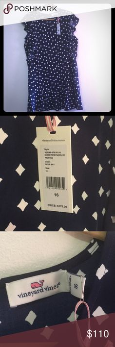 NWT Vineyard Vines Diamond Printed Flounce Dress Super cute NWT Vineyard Vines summer sleeveless dress. A bit too short for me for work and too late to return it - my loss is your gain! Vineyard Vines Dresses