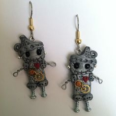 Steampunk Tinman Earrings Polymer Clay Jewelry by Freeheart1, $24.00