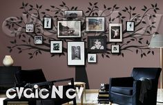 Family Tree Wall Decal Picture Frame Background Wall by evgieNev, $148.00