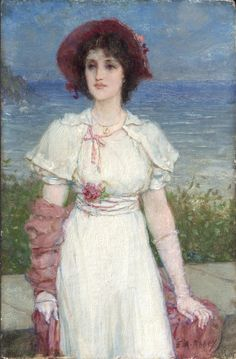 Young Woman in White by the Sea (c. 1890) by Edwin Austin Abbey (1852-1911), American (Philadelphia Museum of Art)