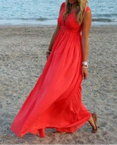 Stylish Plunging Neck Solid Color Chiffon Sleeveless Maxi Dress For Women