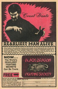 "He called himself Count Dante and he claimed to be ""The Deadliest Man Alive"" in garish comic book ads and gruesome instructional manuals. Description from raindance.org. I searched for this on bing.com/images"