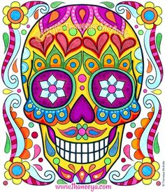 Sugar Skull from 2016 Posh Coloring Calendar by Thaneeya