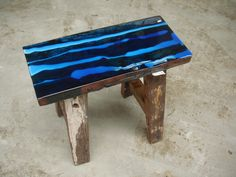 Custom made Vintage stool with colour coating art on top.