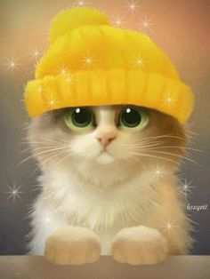 Котик в шапочке - анимация на телефон №1151973